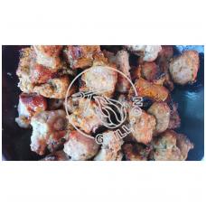 Kiaulienos sprandinės šašlykas sūdytas sūrime, prieskonintas portugališku BBQ prieskonių mišiniu Churrasco be druskos
