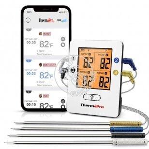 ThermoPro TP25 bevielis Bluetooth skaitmeninis maisto termometras su 4 spalvotais zondais